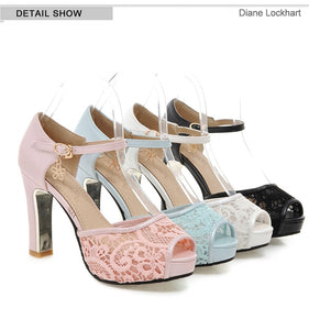 Handmade Lace Mesh Platform Sandals with Charm Element (White / Black / Pink / Mint Green)