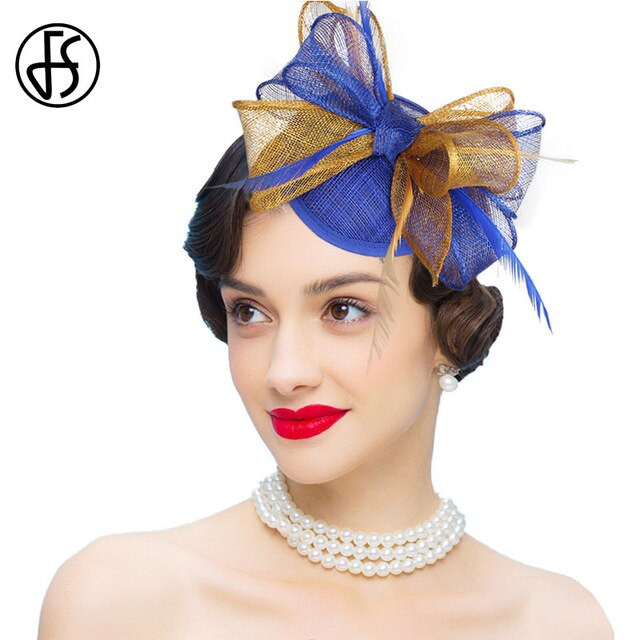 FS Sinamay Fascinators in 3 Eye-catching Styles and Colors (Pale Pink, Blue/Gold, Gold)