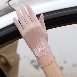 Ladies Lace Sunscreen Gloves - 7 colors/styles - Stretch Fit, Touch Screen Anti-Uv & Slip Resistant Driving Gloves (24cm)