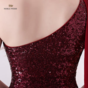 Elegant One-Shoulder Mermaid Long Evening Dress (Dark Blue or Red)