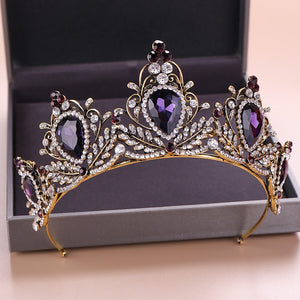 Baroque Vintage Gold & Purple Crystal / Gold & Red Crystal Tiara