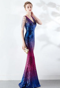 Stunning Ombre V-neck Sequin Mermaid Floor-length Prom Gowns (Multiple Colors)