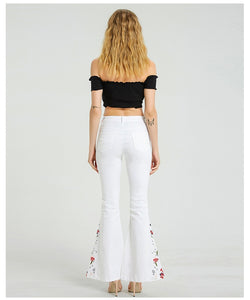 Hippie Chic White Embroidered Flares Jeans