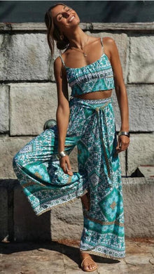 Bohemian Floral Print Crop Top with Wide Leg Pants