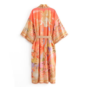 Beautiful Bohemian Style Orange Flower Crane Print Kimono