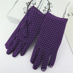 Fashionable Polkadot Summer UV Protection Wrist-Length Driving Gloves (6 colors)