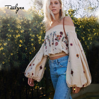 TEELYNN Off-Shoulder Crop Top Boho Blouse with Pretty Floral Embroidery and Lantern Sleeves