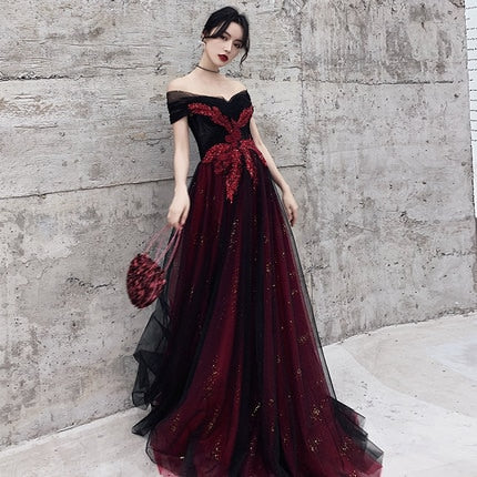 Dark Red & Black, Off-shoulder, Appliqued, Veiled Skirt Ball Gown
