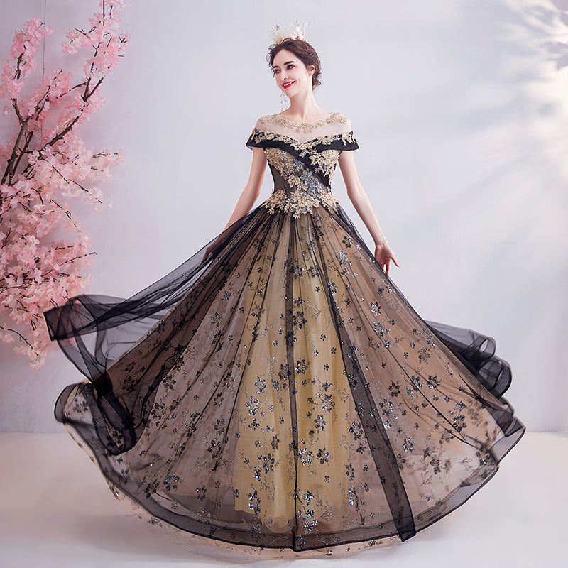 Luxury Baroque Inspired Black & Gold Ball Gown
