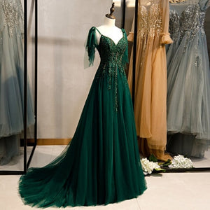Dark Green Woodland Fairy Gown with Train
