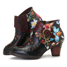 SOCOFY Colorfully Stitched & Painted Floral Genuine Leather Ankle Boots