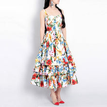MoaaYina Runway Fashion Designer Spring Spaghetti Strap Backless Floral Print Beach Dress