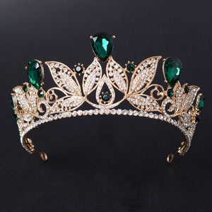 Vintage Green / Red / Purple / Blue / White Rhinestone Bridal Tiara