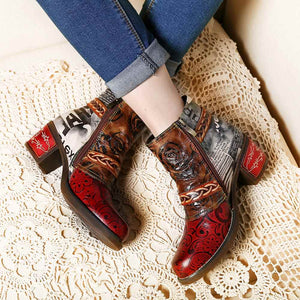 Elegantly Embossed Rose Genuine Leather Spliced Low Heel Ankle Boots