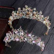 White, Gold or Pink Handmade Tiaras & Matching Earrings (Post/Clip-on)