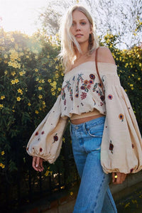 Embroidered Boho Cropped Lantern Sleeve Top