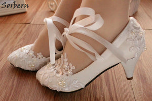 Appliqued Prom / Quinceaneara / Sweet 16 / Wedding Shoes (Various Heel Heights in White or Red)