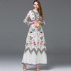 MoaaYina Fashion Designer - Spring Long-sleeve Embroidered Mesh Flowers Elegant Ankle-length Party Gown