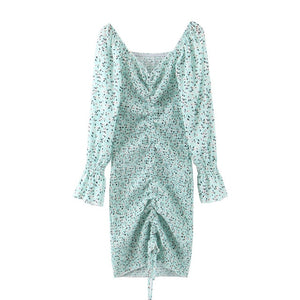 Elegant Light Green Dot Print Long-sleeve Ruched Slim Fit Party Dress