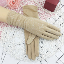 Summer Floral Medium-Long Non-Slip, Touch Screen, Cotton Driving Gloves