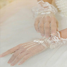 Elegant Fishnet Gloves with Lace & Bowknot Wrist Embellishments (White or Black)