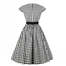 Summer Retro 50's Black and White Plaid Dress