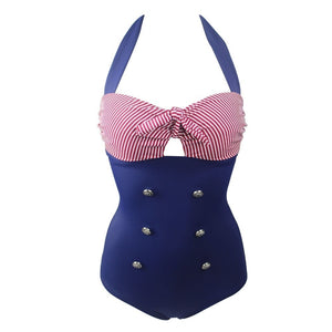 One Piece Vintage Swimsuit (Plus Sizes Available)