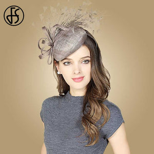 Stunning Gray Brown Pillbox Hat With Feathers 100% Sinamay