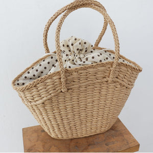CottageCore Style Oversized Wicker Bucket Tote