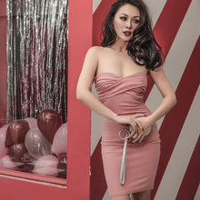Very Sexy Strapless Pleated Bodycon Pinup Dress (3 Colors)