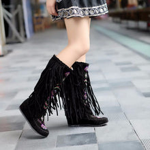 Native Fashion Fringed Flat Heel Knee High Boots in Red, Yellow Black or Brown (Options: Cloth Lined/Fur Lined/Short Velvet Lined)