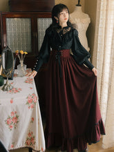 Elegant Vintage Look:  Black Full Sleeve Blouse and Striped Skirt Set