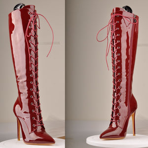 Sexy Leopard/Black/Red Stiletto Pointed Toe Lace-Up & Side Zip 10-11CM High Heel Boots