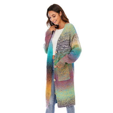 Janice - Rainbow Striped  Loose Cardigan Sweater With Pockets