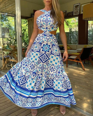 Vintage Print Halter Top Dress