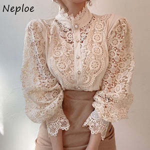 Boho Chic Button Down Hollowed-Out Flower Lace High Collar Blouse (One Size/3 Colors)