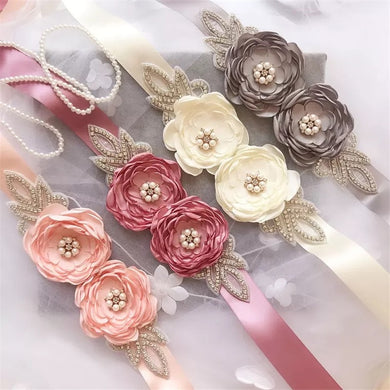 6 Colors Hand Made Satin Flower Crystal Beaded Wedding Sash