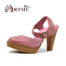 Handmade Leather Mary Jane High Heel Sandals 9.5 cm Heels (khaki or pink)