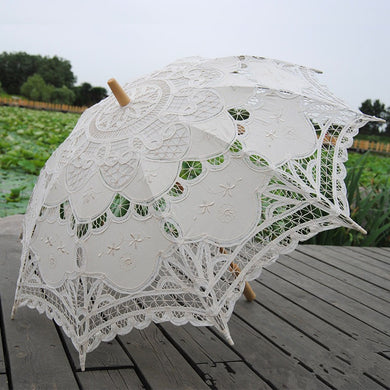Battenburg Lace Embroidered Bridal Umbrella (White or Ivory)