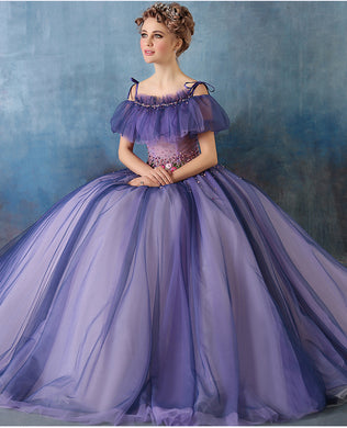 Marie - Purple Flowered & Beaded Renaissance Gown
