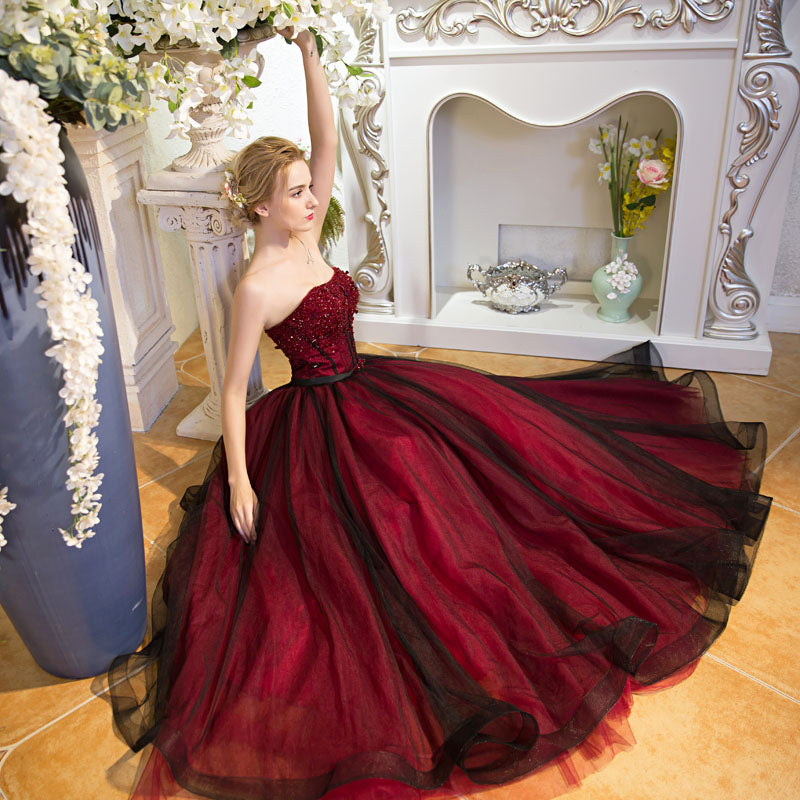 Wine Red Black Veiled Ball Gown with Beaded Top – A Lark And A Lady