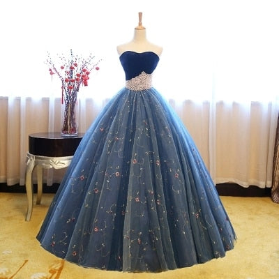 Royal Blue Beading 18th Century Inspired Ball Gown