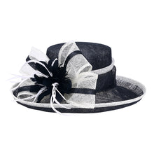 Black and White Large Brim Linen Kentucky Derby Hat