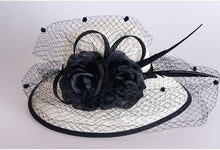 Elegant Linen Wedding Church Hat With Veil And Floral Adornment