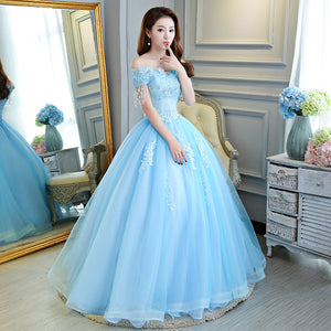 Luxurious Light Blue Cinderella Ball Gown