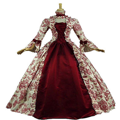 Red Victorian Floral Print Ball Gown