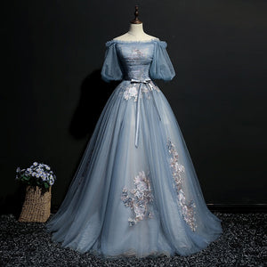 Elegant Ash Blue Floral Embroidered Victorian-Inspired Gown