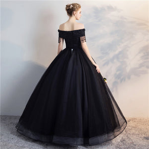 Black Organza Renaissance Ball Gown with Tassels & Beading (Custom Made)