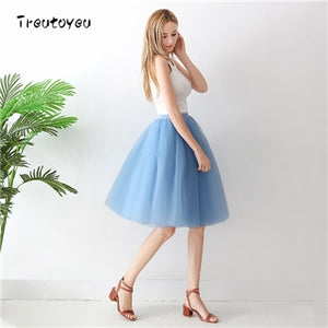 5 Layer Midi A Line Tulle Tutu Skirt