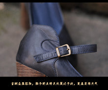 Black Business Casual Handmade Leather High Heel Pumps